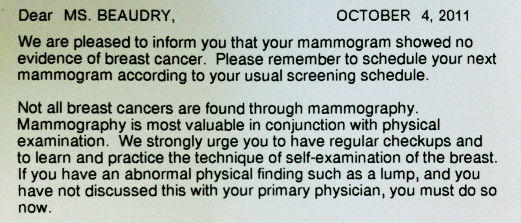 mammogram results, gratitude, relief,