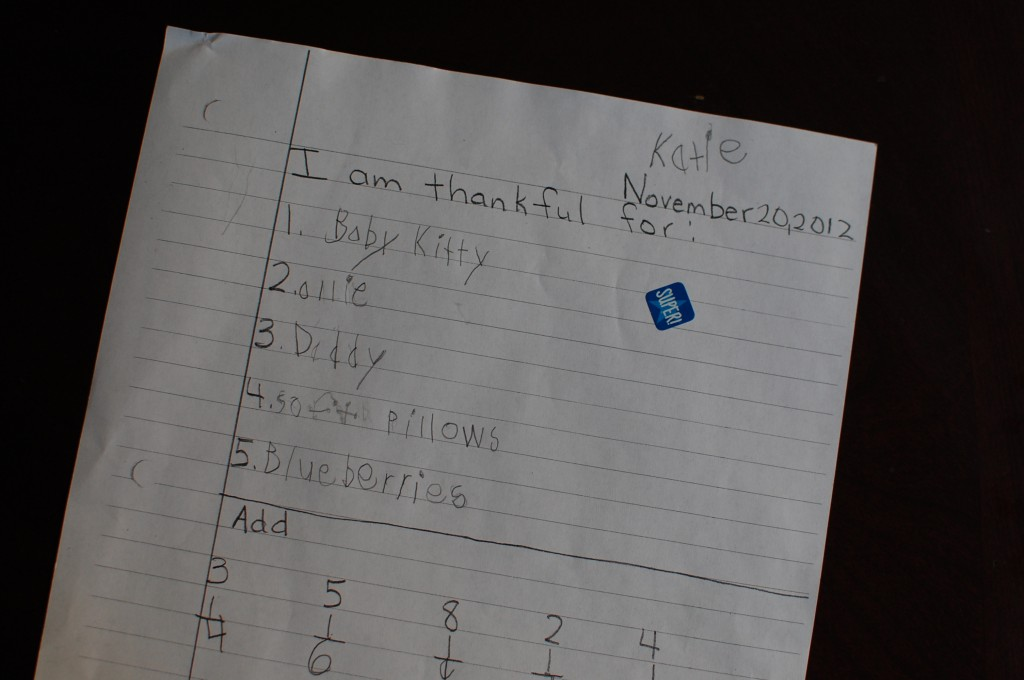 child list of gratitude