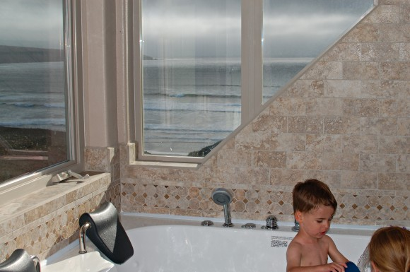 beach house with view, bathroom with view