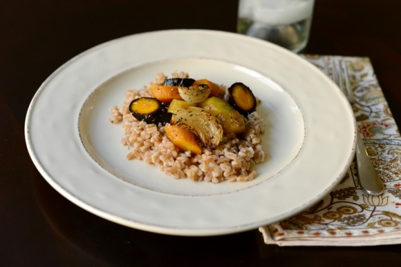 roasted carrots, rainbow carrots, farro recipe, vegan recipe