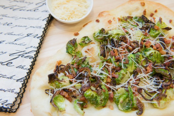 Brussels sprouts, pancetta and crispy shallot pizza